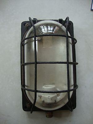 Antique great quality large cast iron bulk head lamp