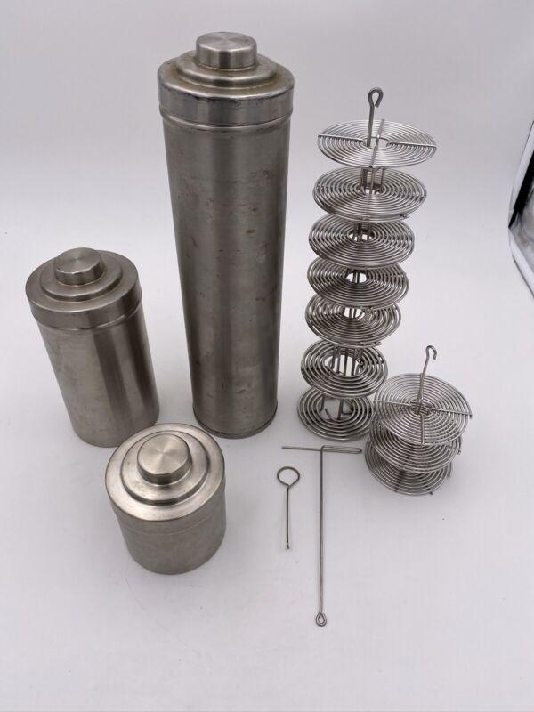 "Vintage Set Of 3 Nikor Stainless Steel Film Developing Tank 13"" 7"" & 3"" E/ Reels"