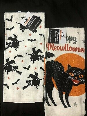 Creepy Halloween FLYING WITCH & BLACK CAT Decor Kitchen Towels Set of 2