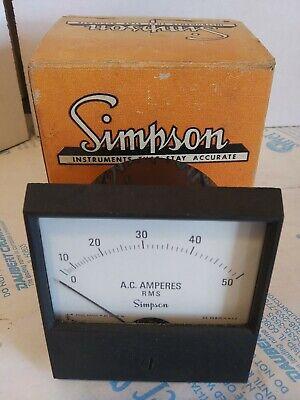 Simpson 2153 Ac Amperes Panel Meter 0-50