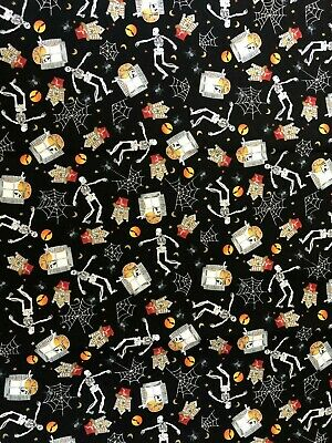 Northcott Harvest Moon Halloween Webs Skeletons Bats Moons Ghost Fabric BTHY](Harvest Halloween)