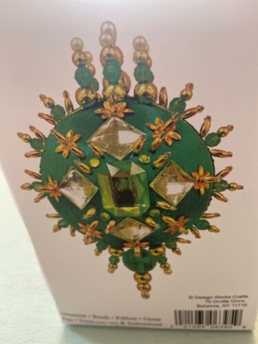 Mary Maxim Christmas ornament kit SEALED green gold gems sequins