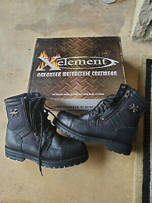 X Element Motorcycle Black Logger Boots S12 Zipper sides Used Once