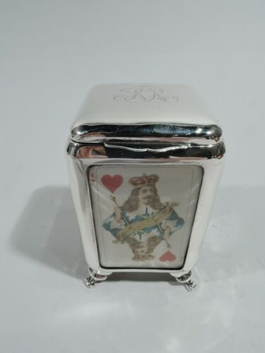 Victorian Box Antique Edwardian Playing Cards English Sterling Silver Grey 1899