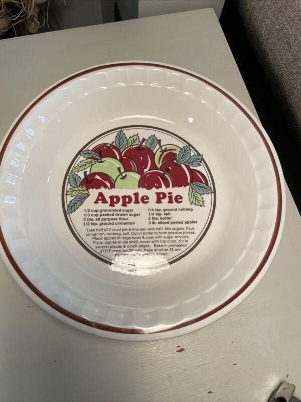 Vintage Apple Pie Recipe Plates by Pie Bakers SunnyCraft 11011 Pie Dish
