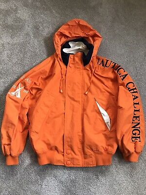 VTG 90's Nautica Challenge J Class Sailing Hooded Collar Jacket Size Small RARE