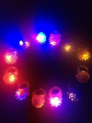 36 Pack Flashing Led Bumpy Rubber Rings for Party Favors Jelly Bubble Light U...