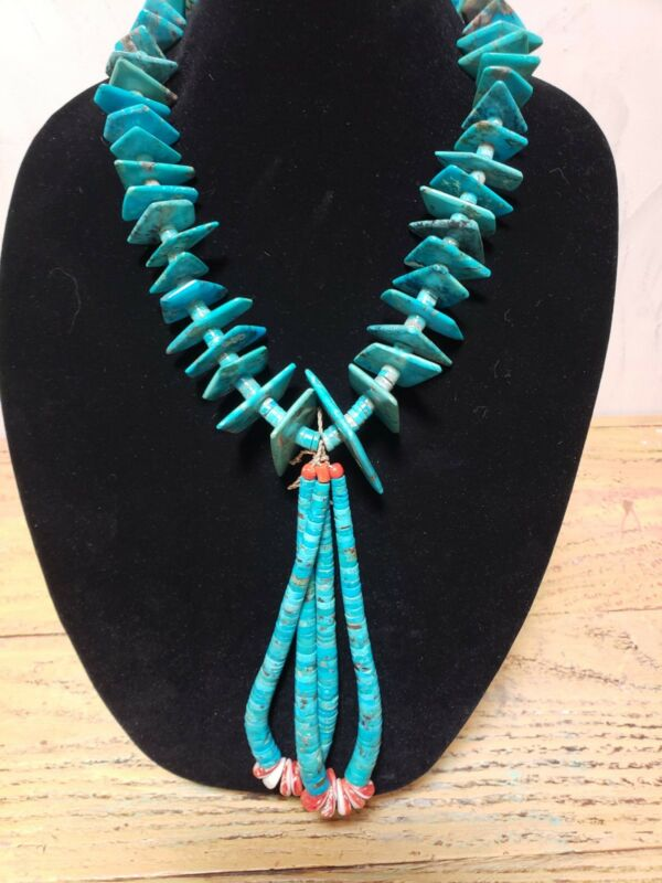 "CHUNKY VINTAGE NAVAJO/ SANTO DOMINGO 24"" LONG JACKLA TURQUOISE NECKLACE"