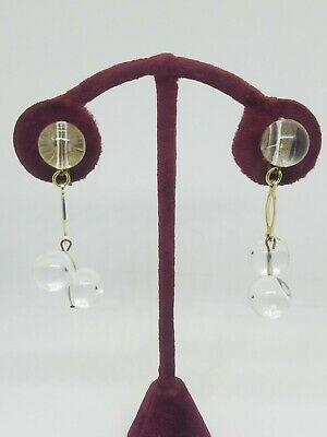 Vintage Clear Lucite Beaded Ball Dangle Clip on Earrings