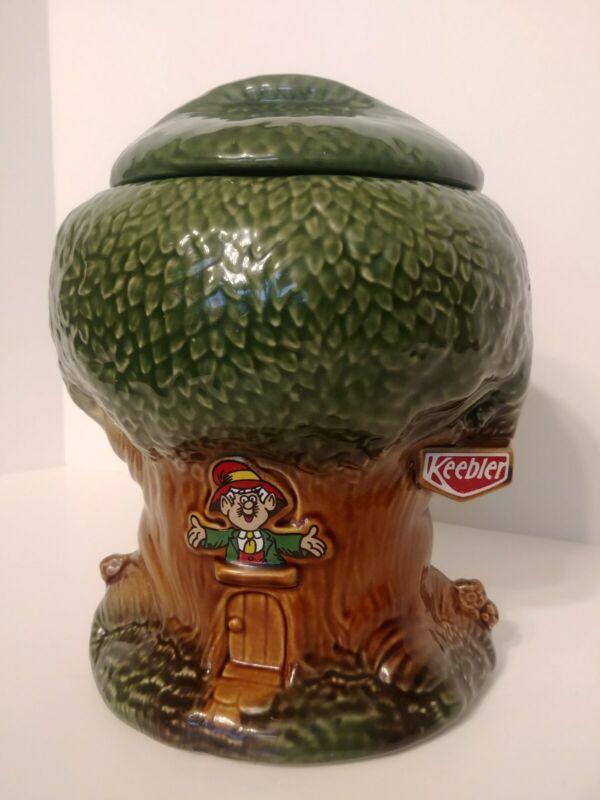 Vintage USA Pottery KEEBLER Elves Cookie Jar # 350 Glazed with Lid No Chips