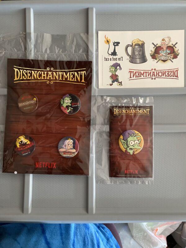 2018 SDCC Netflix Promo Matt Groening Disenchantment Pin Button Set of 5 Tattoos