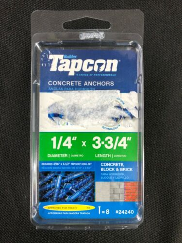 24240 Tapcon 8-Pack 3-3/4-in x 1/4-in Concrete Anchors