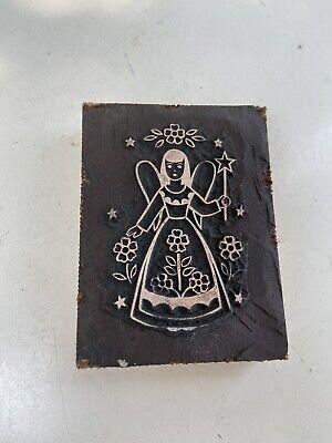 Vintage Stamp Letterpress Printing Block Angel Girl F Weber Co