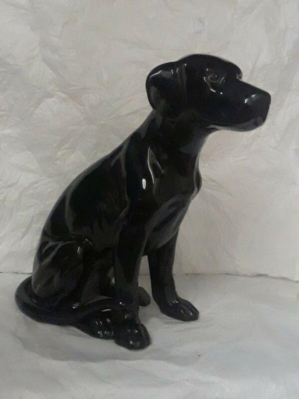 """Vintage Hand Painted Hobbyist Black Lab Dog Figurine 10.25"""" Tall Regal Looking"""