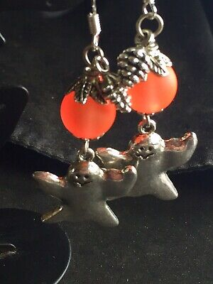 Friendly Ghost Halloween Dangle Earrings With Orange Frosted Glass Bead Frosted Halloween Ghost