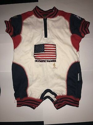 3/6 m months Mighty-Mac Olympic Games one piece 1996 red white blue flag USA