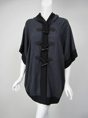 AUTUMN CASHMERE Navy Black Cashmere Toggle Front Hooded Poncho Sweater sz XS Autumn Cashmere Cashmere Poncho