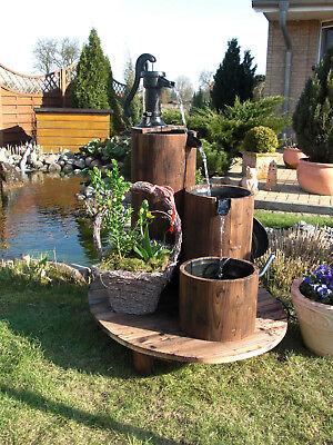 Design Holz Gartenbrunnen Säulenbrunnen Zirkulationsbrunnen - Brunnen 12W Pumpe