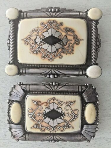 Old Unique ! Sterling Silver Signed Gary Cox #1 Carved Inlay Pair Belt Buckles