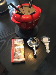 ENAMELware Red fondue set- never used