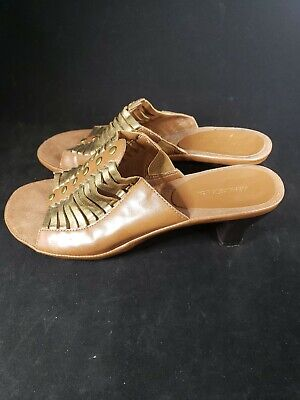 Aerosoles Women's Shoes Mombo Slide Sandals Dark Tan Combo Size 7.5 - Dark Tan Combo