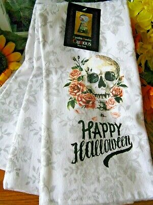 New Cynthia Rowley Halloween Skull & Roses Day of Dead Kitchen Towels Set of 3