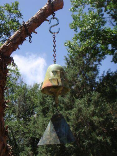 "Arcosanti Soleri 10"" Bronze Wind Bell - 2.5"" Bell - S Hook for Hanging VERY NICE"