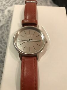 Nixon Kensington Leather watch, brown and silver