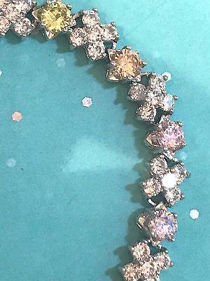 "*NEW* 925 Sterling Silver Multi-color CZ ""XOXO"" Tennis Bracelet 6-6.25"""