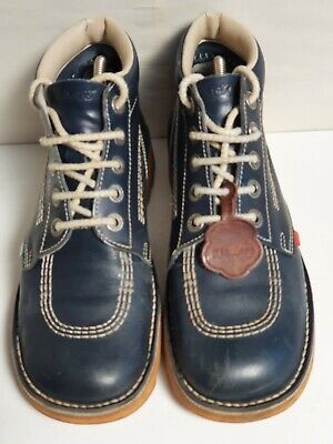 Vintage Leather Kickers Shoe Boots. Navy Blue, Approx Mens Size 8 UK. Used Good