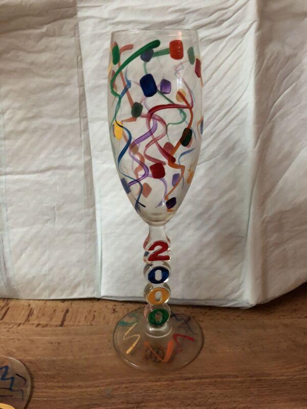 Champagne Flutes Confetti 2 Glasses Toast to the year 2000: Unique Festive Fun