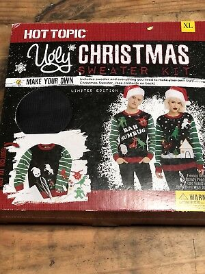 NEW Hot Topic Make Your Own Ugly Christmas Sweater Red Green Black XL Unisex