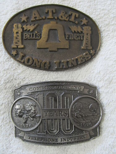 BELL AT&T LONG LINES 1976 & 100 YEARS TELEPHONE INDUSTRY Vintage Belt Buckles