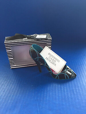 """The Fabulous Shoe Business Card and Pen Holder - Black/Blue 5Wx3H"""""""