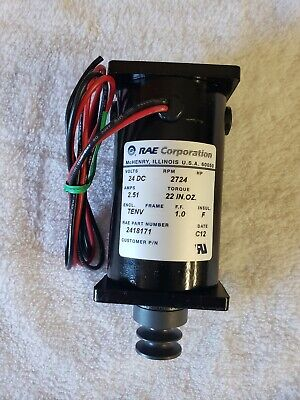 Rae Corporation Electric Motor 24 Dc 2418171 Rpm 2724 Amps 2.51.