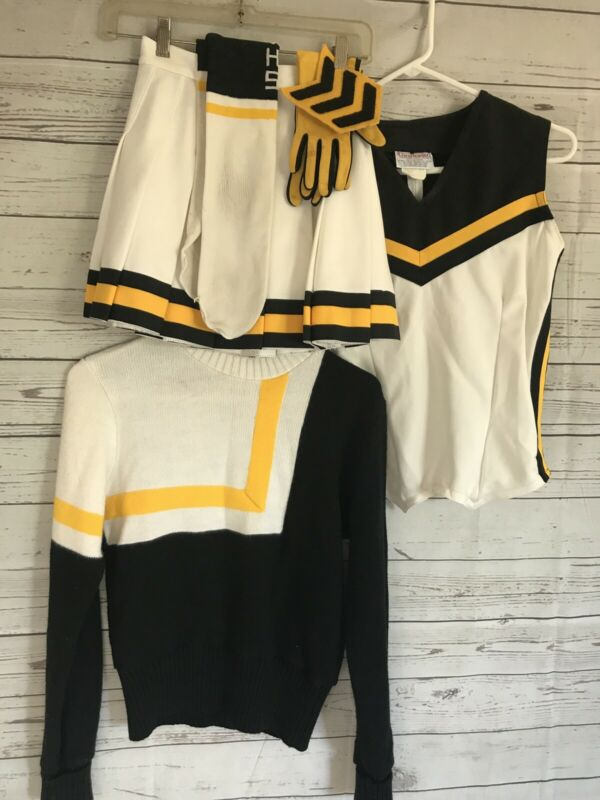VTG Spirit Leaders Real Cheerleader Uniform (8) Piece Set Black Yellow White