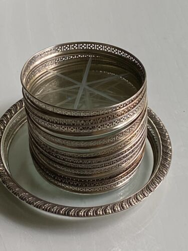 22 PIESES  WEBSTER STERLING SILVER AND CUT CRYSTAL COASTERS