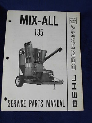 Gehl 135 Mix-all Feed Mixer Grinder Service Parts Manual