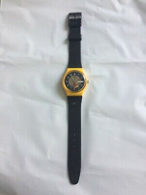 "Vintage Yellow 1985 Swatch ""Yamaha Racer"" Men's Watch - Works"