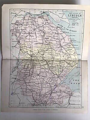 County Of LINCOLN, England, 1884 Original Antique Map, George Philip, Atlas