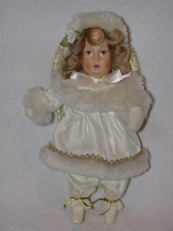 """Pretty 10"""" Angel Doll Dressed In Ivory & Fur"""