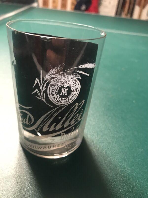 Fred Miller Beer Etched Glass Brewing Miller Pre Pro Old Vintage Antique Glass