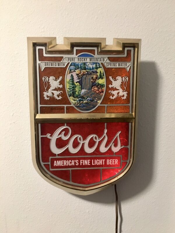 Vintage 60s-70s Coors Original Waterfall Shield Crest Style Light Up Beer Sign