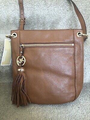 Genuine NEW MICHAEL KORS REAL LEATHER CHARM TASSLE Crossbody Bag Tan Handbag MK