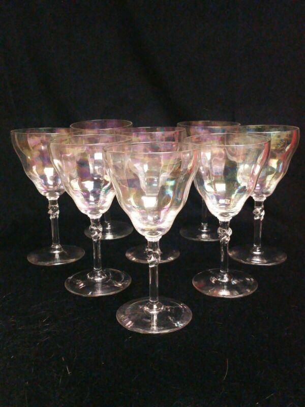 Vintage Bryce Opalescent Crystal wine goblets set of 8 twist on stem