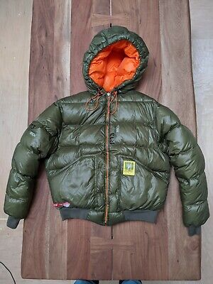 R13 Reversible Down Hoodie Jacket, Olive/Orange, Size Small