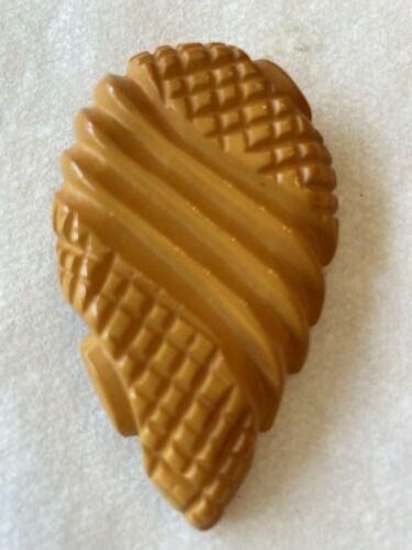 """Vintage butterscotch Bakelite carved dress clip leaf teardrop shape large 2.5"""""""