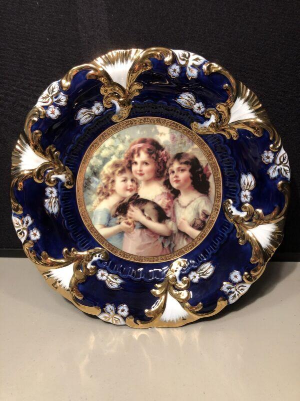 Antique Decorative Royal Vienna Portrait Plate Cobalt Blue & Gold Three Girls