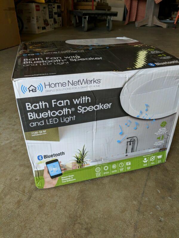 Home Netwerks 7130-18-BT 80 CFM Exhaust Fan+ LED Light + BLUETOOTH SPEAKER/WHITE
