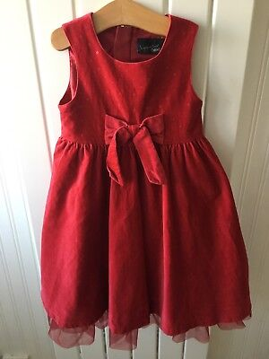 Little Girl's Clothes 2-3 Yrs- Red Velvet Bow Detail Party Dress Great For Xmas